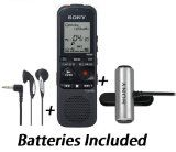Sony Professional Digital 2Gb Mp3 Voice Recorder With Memory Card Slot + Additional Ear-Bud Headphones With Acoustic Twin Turbo Circuitry  Tie Clip Omnidirectional Stereo Microphone * Batteries Included *
