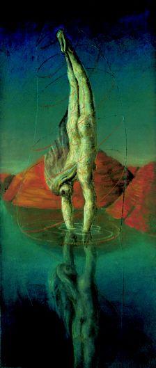 EDGAR ENDE   Das Spiegelbild  (Der Taucher)  Oil on Canvas  1948  140 x 60 cm