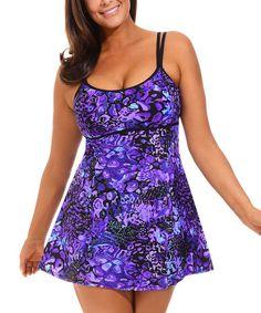 Another great find on #zulily! Purple Techno Floral Swimdress - Women & Plus #zulilyfinds