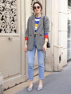 It Girl - blazer-xadrez-calça-jeans-malha-colorida - blazer xadrez - Meia Esta. Blazer Jeans, Look Blazer, Blazer Outfits, Casual Outfits, Casual Blazer, Plaid Blazer, Grey Blazer Outfit, Plaid Jeans, Stripe Blazer