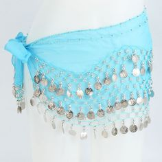 Silver Coin Belly Dance Hip Scarf in Light Blue $12