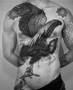 bw eagle tattoo idea on chest Tattoos Torso, Tattoos 3d, Eagle Tattoos, Animal Tattoos, Tattoo Drawings, Body Art Tattoos, Tattoos For Guys, Eagle Chest Tattoo, Rabe Tattoo