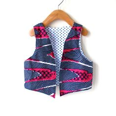 Size 3T/4T African Wax Child's Vest  Red Bird by ThumbandPinky, $30.00