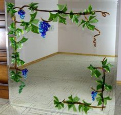 fused glass projects | Fusing Glass On The Mirror Grapevine - Delphi Stained Glass - would be cool on a frame too!
