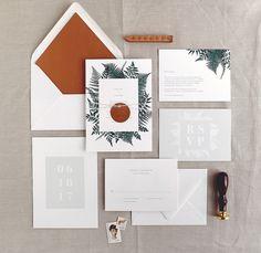 Botanical Fern wedding invitations, Rachel Marvin Creative, metallic copper envelope liners, metallic copper tag belly bands