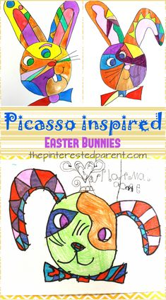Picasso inspired the Easter Bunny art project. Easter crafts for children . - diy kunst - Picasso inspired the Easter Bunny art project. Easter crafts for children. Spring Art Projects, Easter Projects, Arts And Crafts Projects, Projects For Kids, Kids Crafts, Bunny Crafts, Art Crafts, Spring Crafts, Creative Crafts