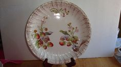 19 CENTURY  FRANZ ANTON MEHLEM  HAND PAINTED  STRAWBERRY POTTERY  PLATE