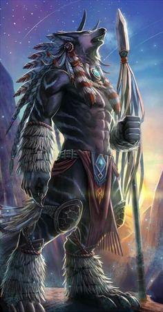 Lobisomem worgen Mais a biggest werewolf ever Fantasy Wolf, Fantasy Beasts, Fantasy Warrior, Dark Fantasy Art, Fantasy Artwork, Fantasy Races, Fantasy Character Design, Character Art, Digital Art Illustration