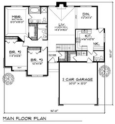 First Floor Plan of Traditional House Plan 73284