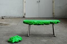 Plastic factory waste into furniture by Ruben Thier... the image makes me want a new material: resin panel using recycled clothing material as the core