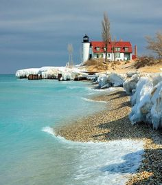 "Lighthouse on Lake Michigan. ""March Thaw"" Point Betsie Lighthouse - Crystallia, Michigan by John McCormick on Oh The Places You'll Go, Places To Travel, Places To Visit, Magic Places, Lighthouse Pictures, Photo Images, Beacon Of Light, To Infinity And Beyond, Beautiful Places"