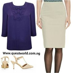 Simply Amazing #blouse #skirt #shoes #formal Nationwide Delivery from 24hrs. Pay on delivery within Lagos www.questworld.com.ng