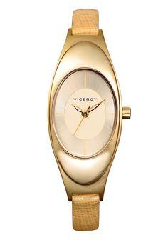 #Reloj #Viceroy para mujer en dorado, con correa de piel
