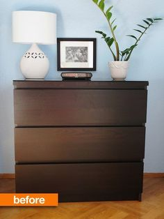 Before & After: Maggie's MALM Makeover Maggie's IKEA MALM dresser was super functional but pretty plain, so she got creative and gave it Commode Malm Ikea, Ikea Malm Nightstand, Malm Drawers, Ikea Dresser Makeover, Ikea Furniture Hacks, Diy Furniture Redo, Garden Furniture, Furniture Ideas, Furniture Making