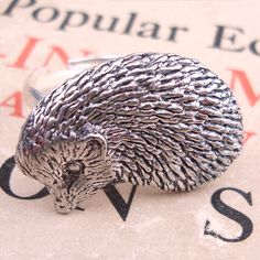 Hedgehog Ring Antiqued Pewter Silver Plated Ring by makeit on Etsy. $19.00, via Etsy.