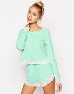 ASOS Lace Trim Long Sleeve Tee & Short Pajama Set