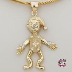 Signed Gold Clown Necklace