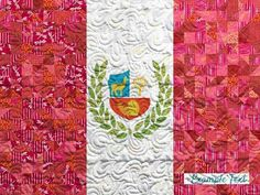Peruvian Flag Quilt with Customizable Text for your Missionary - Custom Quilts by Stitched