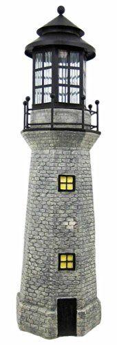 3 Foot Tall Lighthouse Solar Light 36 Inch House Gray