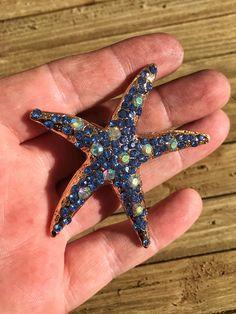 Sparkling midnight blue rhinestone starfish.