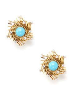 Tiffany Schlumberger Turquoise Bird's Nest Earrings by Patrizia Ferenczi Inc. on Gilt