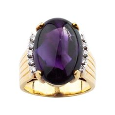 18K Yellow Gold 22ct Cabochon Amethyst and 0.12ct Diamond Cocktail Ring Sz 6.5 | TrueFacet