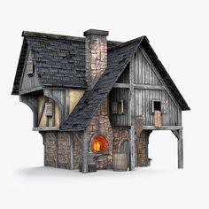Minecraft Building Blueprints, Minecraft Houses, Minecraft Stuff, Blacksmith Forge, Minecraft Medieval, Render Image, Medieval Fortress, Medieval Houses, Wargaming Terrain