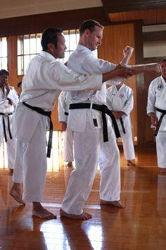 Seiichi Fujiwara Hanshi Correcting James Duggan Shihan #karate technique in #Sanchin #kata. #Japan #Dojo