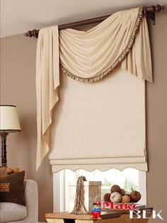 Swag Curtains, Curtains With Blinds, Valances, Paper Blinds, Roman Blinds, Window Curtains, Curtain Styles, Curtain Designs, Living Room Windows