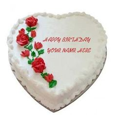 Write Name On Rose Heart Cakes Send Birthday Cake Delivery Happy