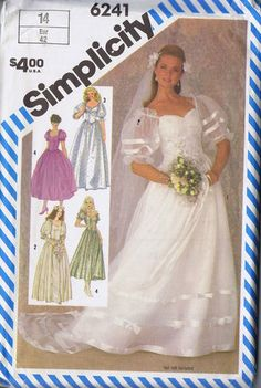 I think this is the pattern i used for Julie's wedding!  Wedding Bridal Gown Sewing Pattern 6241 Simplicity