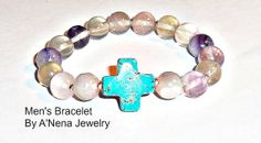 Men's Bracelet Fluorite and Howlite  The Student by ANenaJewelry, $65.00