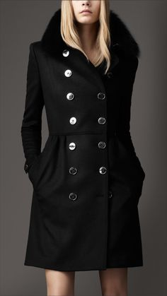 Burberry - MID-LENGTH WOOL CASHMERE FUR COLLAR TRENCH COAT