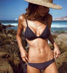 The GIGI Bikini 'Moroccan Midnight' Tonal Crochet + Neoprene Worn by #trianglgirl @naila