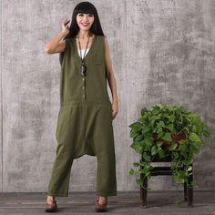 Women summer sleeveless loose cotton linen jumpsuits
