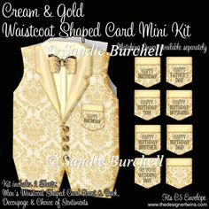 Cream & Gold Waistcoat Shaped Card Mini Kit : The Designer Twins ...where creativity encounters quality and value