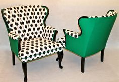 00 SOLD- 8 dining chairs with graffiti fabric and black velvet two throne end chairs SOLD- CAN REPLICATE-Pair of Channel Chairs Wing Back Chairs in Emerald Green and Black and White Ikat Dot Fabric Chic Eclectic Queen Ann Chair Redo, Chair Makeover, Furniture Makeover, Funky Furniture, Furniture Design, Furniture Ideas, Upholstered Furniture, Tufted Headboards, Furniture Slipcovers