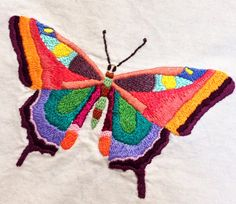 I'm hoping to finish twenty or twenty-five of these butterflies to incorporate into a quilt. I'm thinking about really neutral fabrics, maybe linens, with regimented squares and rectangles of butterflies, almost like a colorful specimen collection. Embroidery Motifs, Embroidery Thread, Cross Stitch Embroidery, Embroidery Designs, Butterfly Project, Butterfly Crafts, Learning To Embroider, Bargello, Thread Painting