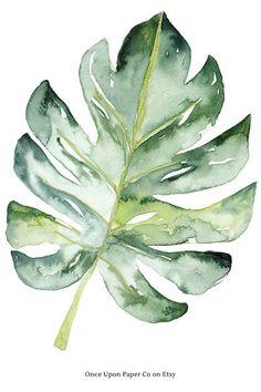 Monstera Botanical printable in watercolour. Digital art print as large poster. #monstera #botanical #print #wallart