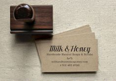 Custom Business Card Stamp Set, Chic Design: Includes 100 Blank Business Cards, a Personalized Stamp and Black Ink Pad
