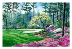 AUGUSTA NATIONAL #10 (Camellia) Golf Poster Print - by Paul Kuchno -This hole, the #1 hole at pre-1935 Augusta National, is now the first playoff hole, and has seen countless great moments at the Masters over the years. Perfect for the wall of any golf fanatic! ~available at www.sportsposterwarehouse.com