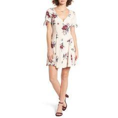 Women's Astr Tie Sleeve Dress (925 ZAR) ❤ liked on Polyvore featuring dresses, blush multi floral, short pleated dress, retro dresses, floral mini dress, retro floral dress and floral pleated dress