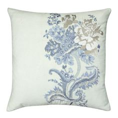 Laura Ashley Rose Hill Embroidered Floral Cotton Mix Cushion