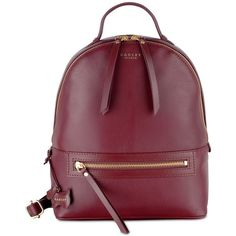 Radley London Northcote Road Zip-Top Small Backpack (180 CAD) ❤ liked on Polyvore featuring bags, backpacks, port, genuine leather backpack, radley backpack, backpack bags, dog bag and purple backpack