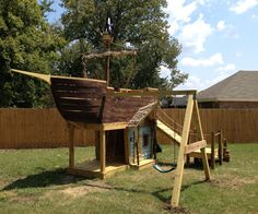 Of course, a treasure chest cooler needs a backyard pirate ship playground. Backyard Playground, Backyard For Kids, Diy For Kids, Playground Ideas, Water Playground, Build A Playhouse, Playhouse Outdoor, Castle Playhouse, Wooden Playhouse