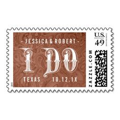 Pick Color Wood Country Western I Do Wedding Stamp.  #IDo #Country #Western #Wedding #Postage #Stamps
