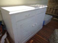 Antique Vintage Pine Sideboard Painted White