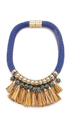 Holst + Lee Fringe Necklace. Painted beads, polished hardware, and multicolor tassels trim the the thick woven strand of this Holst + Lee necklace. Magnetic closure.