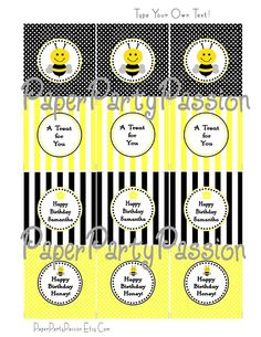Bee Printables with editable text