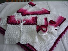Baby Sweater, Booties, & Baby Blanket inspiration only - this lady does beautiful work, very creative and great eye for color